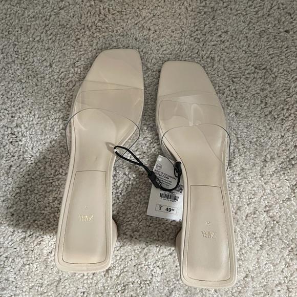 Clear zara sandals in size 8